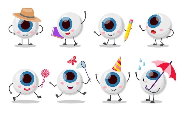 Set di personaggi del bulbo oculare carino e divertente