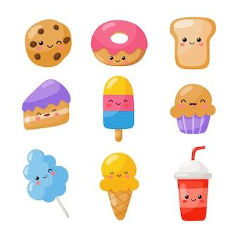Set di icone di stile kawaii divertente fast food carino isolato su bianco.
