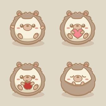 Set di caratteri di riccio carino e divertente. illustrazione vettoriale dei cartoni animati