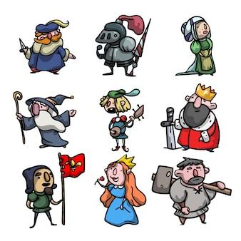Set di simpatici e divertenti personaggi medievali di persone diverse