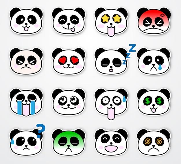 Set di modello di adesivo emozione panda carino e divertente Vettore Premium