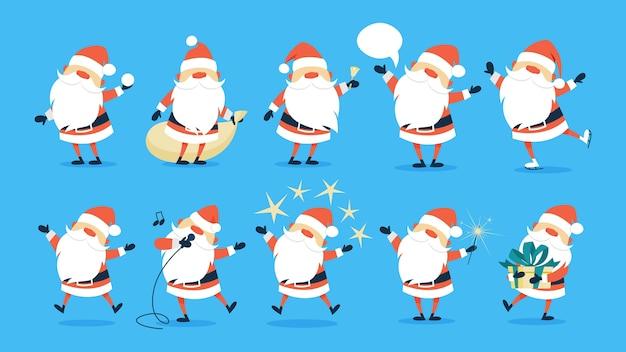 Set di carino divertente babbo natale che celebra natale e capodanno. felice santa divertendosi. illustrazione