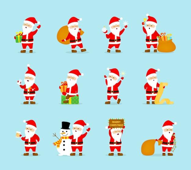 Set di carino divertente babbo natale in bicchieri per celebrare il natale e il nuovo anno. babbo natale felice con la borsa divertendosi. illustrazione