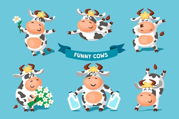 Insieme delle mucche in bianco e nero macchiate divertenti carine in pose diverse.