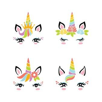 Set di viso carino unicorno divertente.