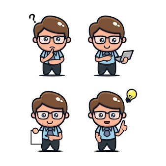 Set di icone di design mascotte nerd carino geek