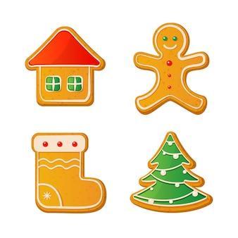 Set di simpatici biscotti di panpepato per natale. isolato su sfondo bianco. illustrazione vettoriale.