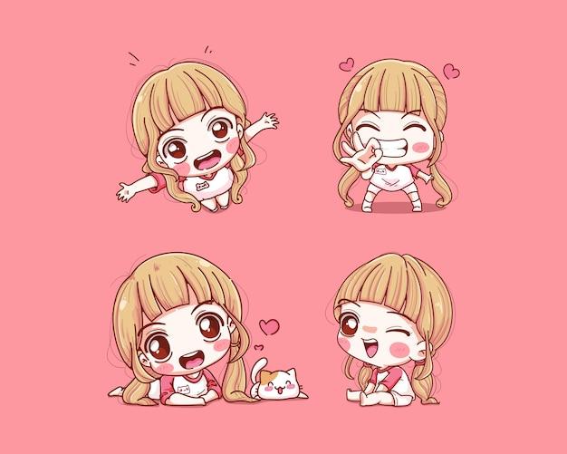 Set di ragazza carina felice e sorriso isolato sul rosa