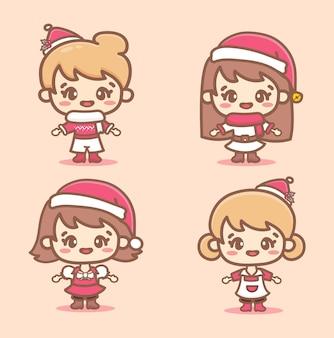 Set di ragazza carina che indossa un cappello da babbo natale e un vestito alla moda per le vacanze di natale. stile rosa kawaii