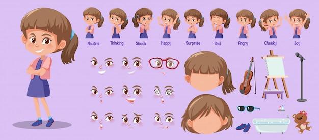 Set di ragazza carina con diverse espressioni sul suo viso