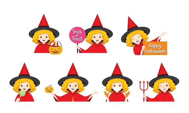 Set di ragazza carina con costume da piccola strega rossa, happy halloween