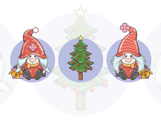 Set di cute gnome girl holding confezione regalo e albero di natale - illustrazione di natale