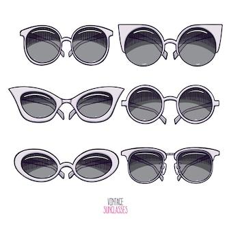 Set di occhiali da sole vintage grigi carini. illustrazione disegnata a mano