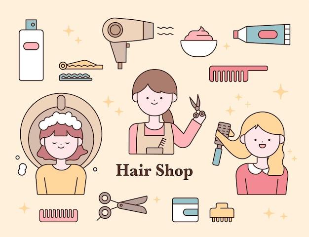 Set di simpatici personaggi per parrucchieri e icone di strumenti per parrucchieri