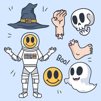 Set di simpatiche illustrazioni di design d'arte di halloween
