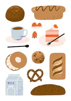 Set di simpatici prodotti per il pane disegnati a mano, elementi di torta e caffetteria, illustrazione di arte del fumetto di panetteria e pasticceria del caffè