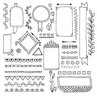 Insieme degli elementi di riviste proiettile disegnati a mano carino isolati su priorità bassa bianca. raccolta di cornici doodle.