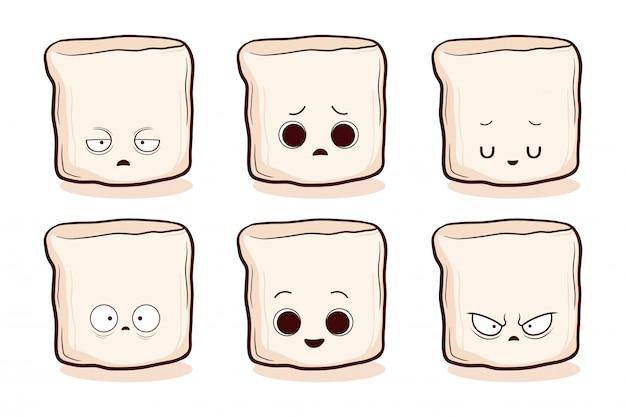 Set di marshmallow carino disegnato a mano
