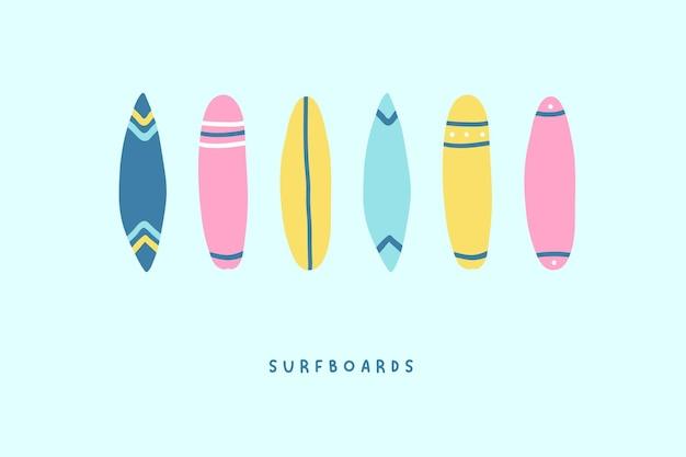 Set di icone di tavole da surf disegnate a mano carino. illustrazione vettoriale in stile cartone animato piatto