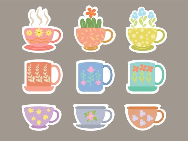 Set di tazza da tè o tazze disegnate a mano carino con stile e illustrazione dell'autoadesivo dell'ornamento del fiore carino