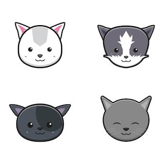 Set di carino testa gatto mascotte fumetto icona illustrazione vettoriale. disegno isolato su bianco. stile cartone animato piatto.