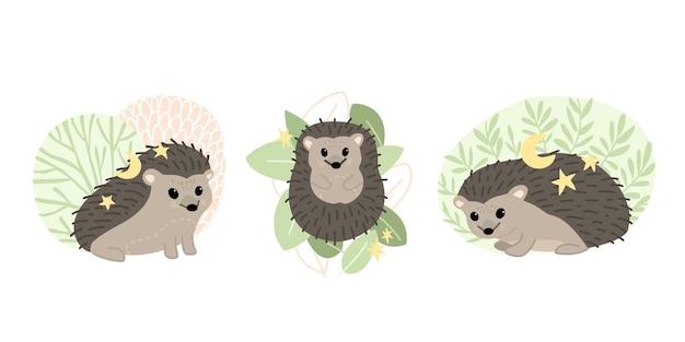 Set di simpatici ricci. animali della foresta. illustrazione di cartone animato piatto vettoriale