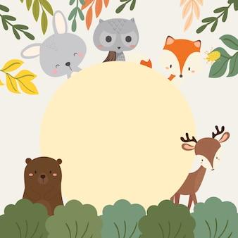 Insieme dell'illustrazione sveglia degli animali del terreno boscoso.
