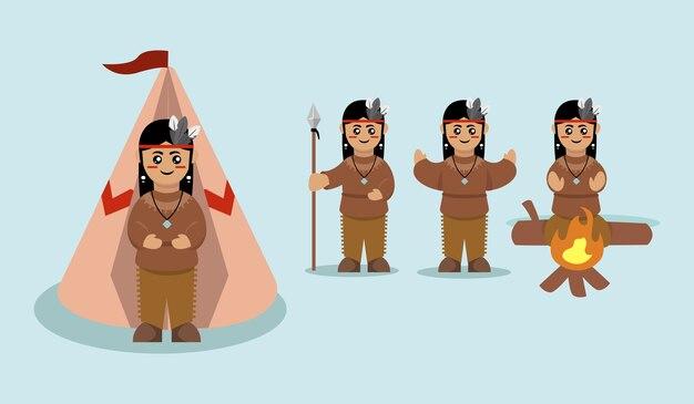 Set di carino indiano nativo americano illustrazione mascotte