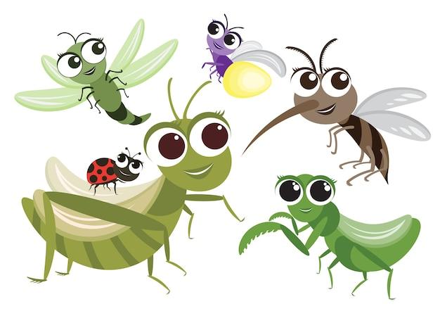 Set di simpatici personaggi dei cartoni animati di insetti