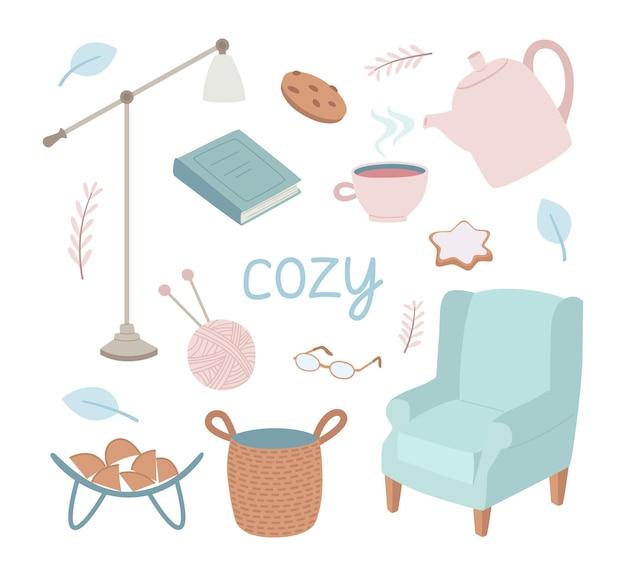 Set di oggetti interni carini è una poltrona, una lampada da terra, libri, un bollitore, un cestino e altri.