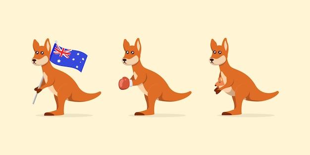 Set di simpatica illustrazione di design del logo della mascotte del canguro