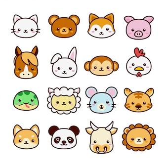 Set di simpatici animali kawaii per bambini che imparano il vocabolario. stile cartone animato piatto