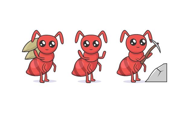 Set di simpatiche formiche kawaii insetto mascotte design illustrazione