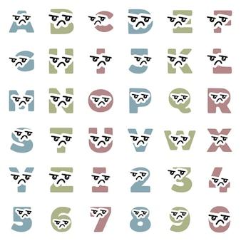 Set di simpatici caratteri kawaii con lettere e numeri con faccina triste, clip art vettoriali