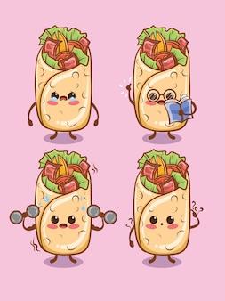 Set di simpatici kebab tutta l'espressione. cartone animato