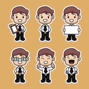 Set di adesivi per bambini carino uomo d'affari
