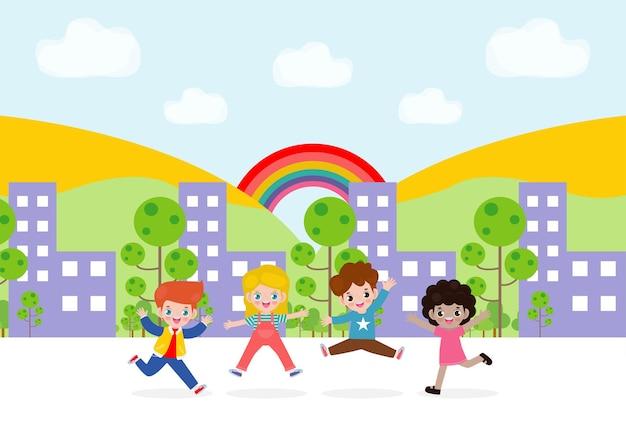 Set di simpatici personaggi per bambini che giocano e saltano sulla città