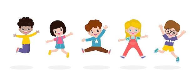 Set di simpatici personaggi per bambini che giocano e saltano