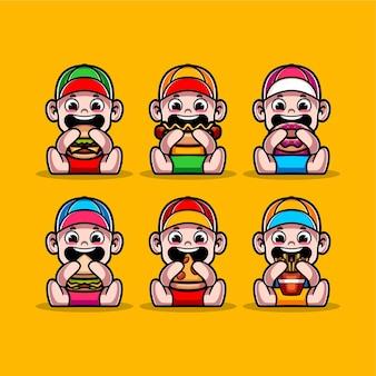 Set di bambini carini che mangiano fast food