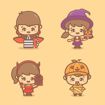 Set di bambini carini che indossano il costume di halloween e tengono una scatola regalo a sorpresa. illustrazione del personaggio dei cartoni animati