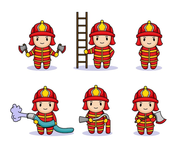 Set di bambini carini con costume da pompiere