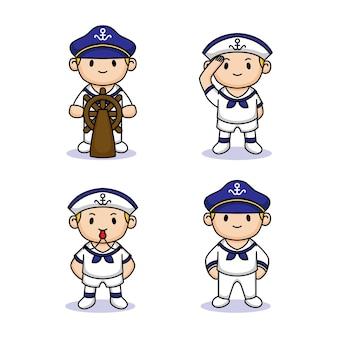 Set di simpatici bambini con costume da marinaio