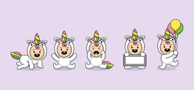 Set di bambini carini con design logo mascotte unicorno
