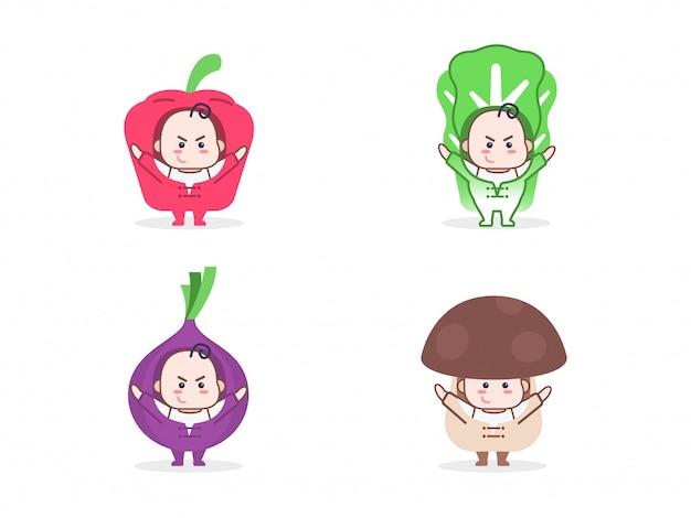 Set di bambini carini con costume di verdure