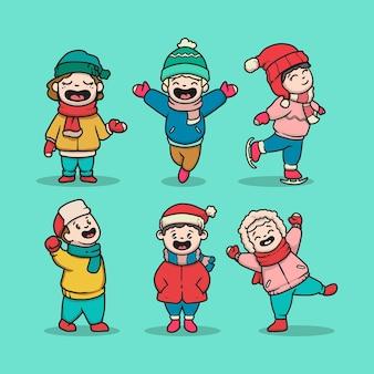 Set di bambini carini con panno invernale
