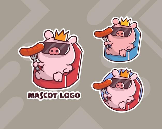 Set di simpatico logo mascotte salsiccia di maiale re con aspetto opzionale.