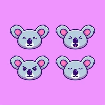 Impostare l'illustrazione del fumetto dell'icona della testa di koala carina con varie espressioni del viso