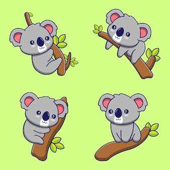 Set di illustrazioni di koala carino