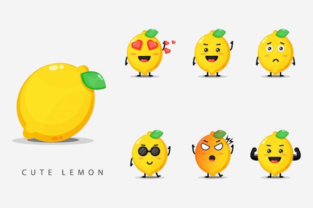Set di simpatiche mascotte di limone