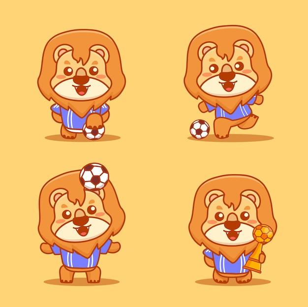 Set di simpatici personaggi di leone che indossano una maglietta blu che giocano a calcio e tengono il trofeo. vettore di cartone animato kawaii